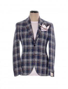 Luigi Bianchi Mantova Giacca Finestrata Blu Bianco Cuoio - 244 92795\3 - Semenzato Abbigliamento